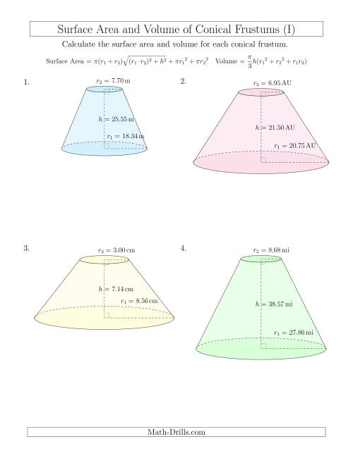 The Volume and Surface Area of Conical Frustums (Two Decimal Places) (I) Math Worksheet