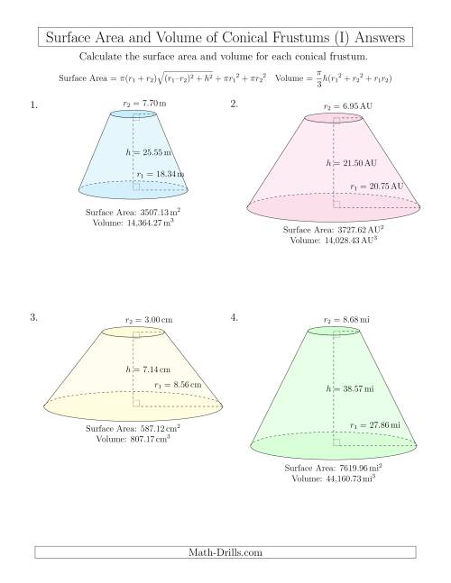 The Volume and Surface Area of Conical Frustums (Two Decimal Places) (I) Math Worksheet Page 2