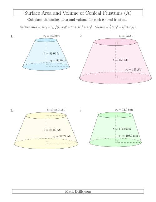 volume and surface area of conical frustums large input values a measurement worksheet. Black Bedroom Furniture Sets. Home Design Ideas