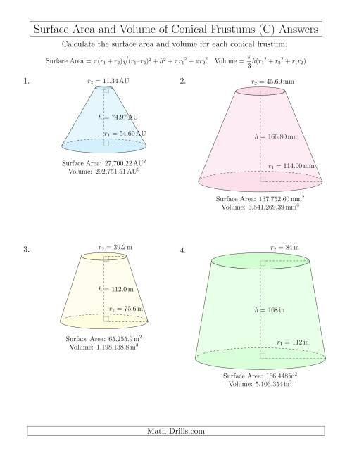 The Volume and Surface Area of Conical Frustums (Large Input Values) (C) Math Worksheet Page 2