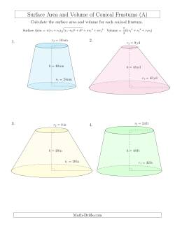 Volume and Surface Area of Conical Frustums (Whole Numbers)