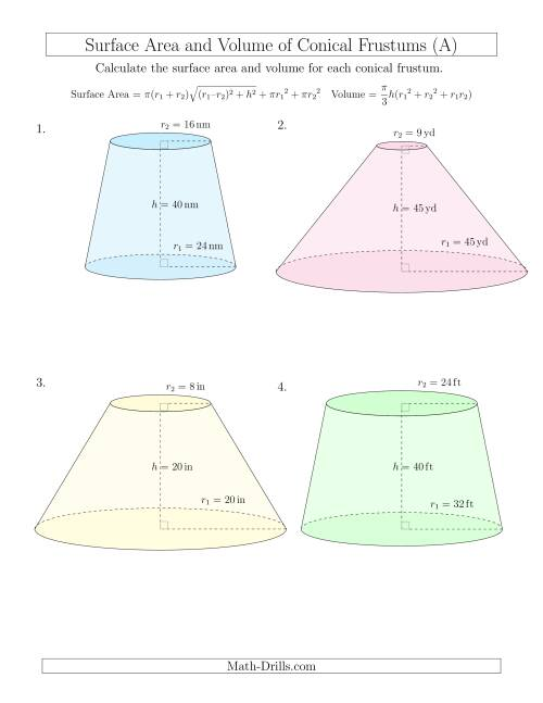 The Volume and Surface Area of Conical Frustums (Whole Numbers) (A) Math Worksheet