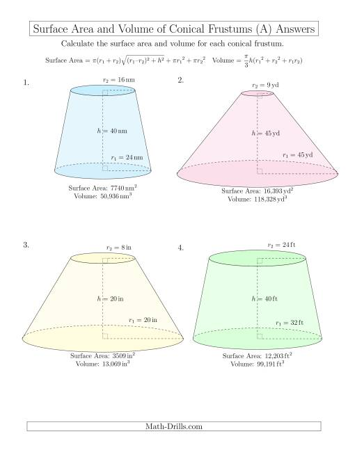 The Volume and Surface Area of Conical Frustums (Whole Numbers) (A) Math Worksheet Page 2