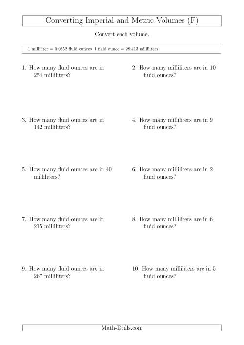 The Converting Between Milliliters and Imperial Fluid Ounces (F) Math Worksheet