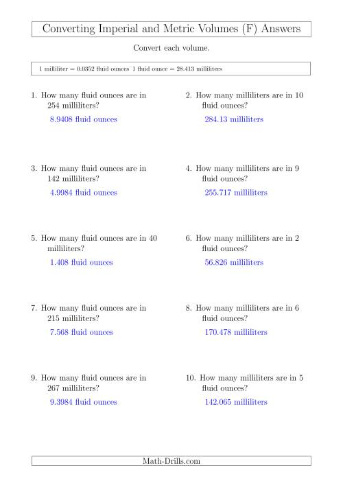 The Converting Between Milliliters and Imperial Fluid Ounces (F) Math Worksheet Page 2