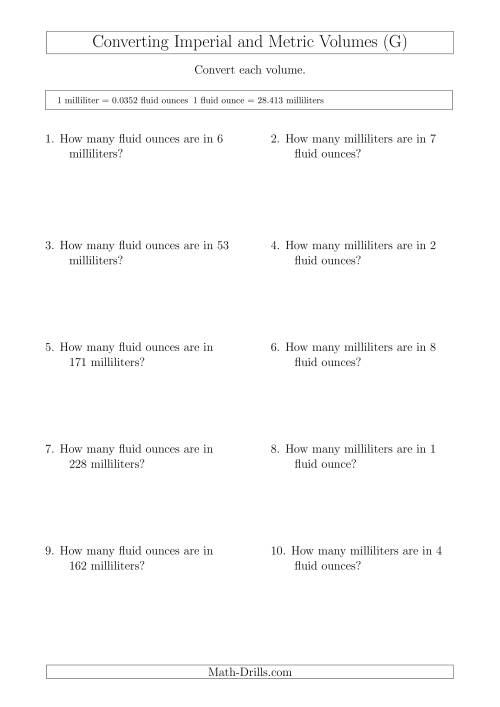 The Converting Between Milliliters and Imperial Fluid Ounces (G) Math Worksheet