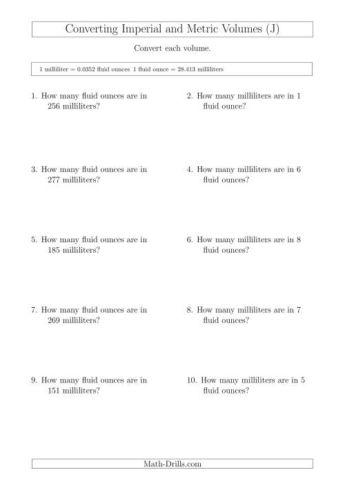 The Converting Between Milliliters and Imperial Fluid Ounces (J) Math Worksheet