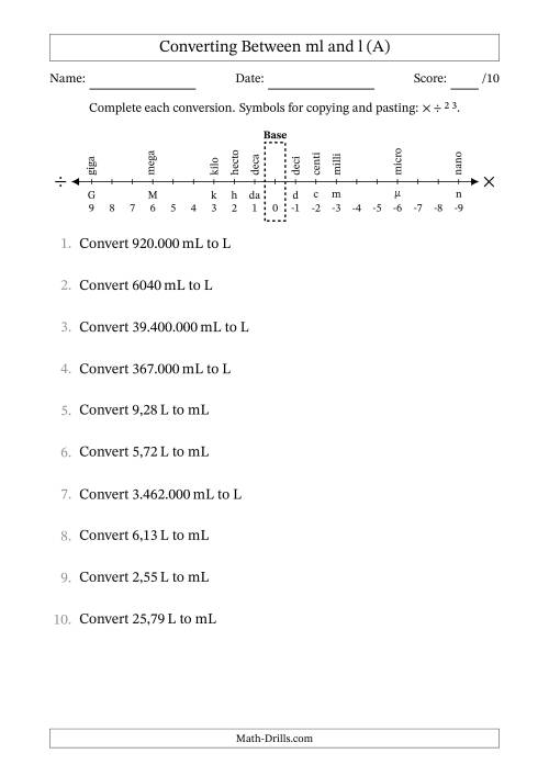 The Euro Number Format Converting Between Milliliters and Liters (All) Math Worksheet