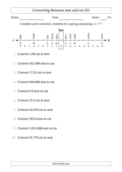 The Euro Number Format Converting Between Millimeters and Centimeters (D) Math Worksheet