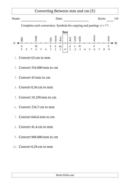 The Euro Number Format Converting Between Millimeters and Centimeters (E) Math Worksheet