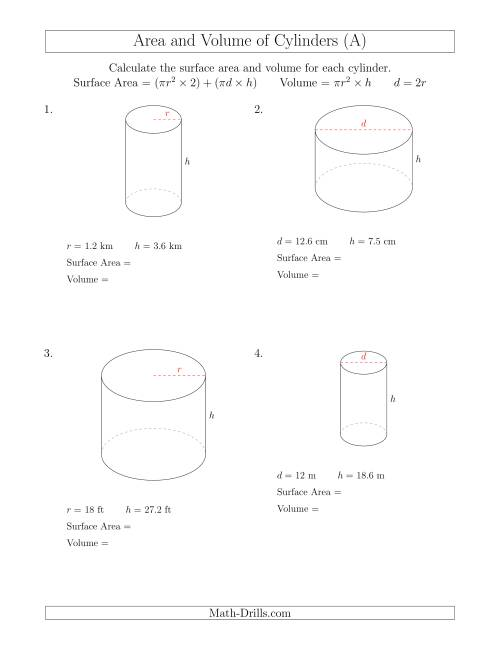 The Calculating Surface Area and Volume of Cylinders (A) Math Worksheet