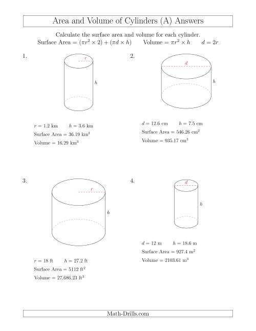 Worksheets Surface Area And Volume Worksheets With Answers calculating surface area and volume of cylinders a the math worksheet page 2