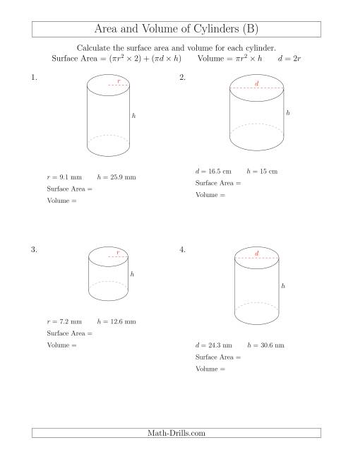 The Calculating Surface Area and Volume of Cylinders (B) Math Worksheet