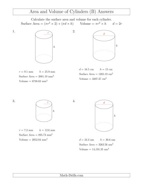 The Calculating Surface Area and Volume of Cylinders (B) Math Worksheet Page 2
