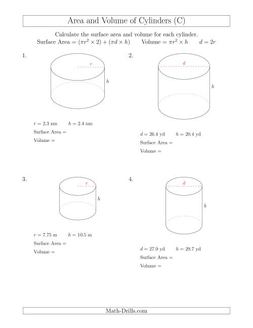 The Calculating Surface Area and Volume of Cylinders (C) Math Worksheet