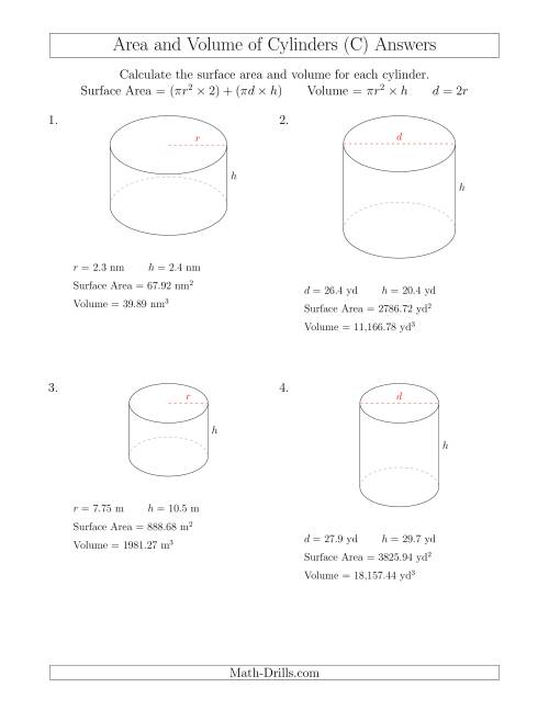 The Calculating Surface Area and Volume of Cylinders (C) Math Worksheet Page 2