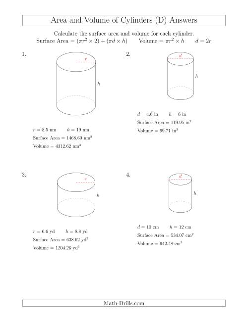 Calculating Surface Area And Volume Of Cylinders D