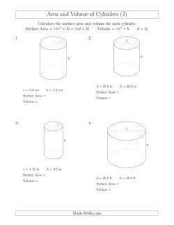 calculating surface area and volume of cylinders j measurement worksheet. Black Bedroom Furniture Sets. Home Design Ideas