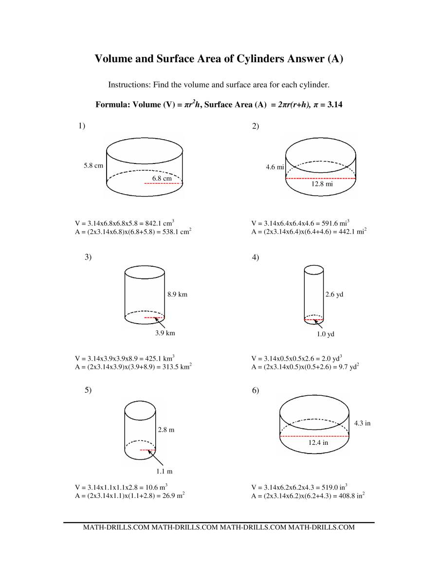 Volume And Surface Area Of Cylinders A