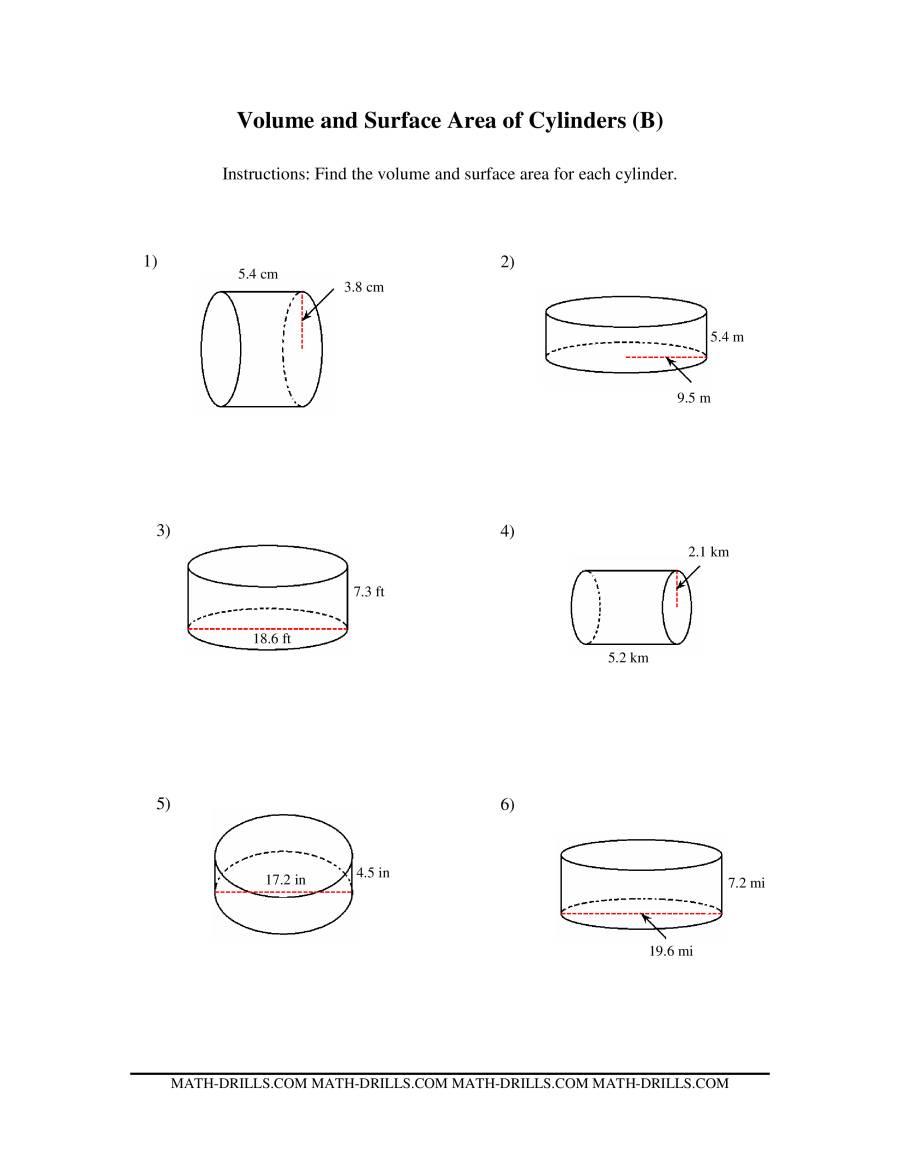 Volume Of Cylinder Worksheet Virallyapp Printables Worksheets – Surface Area Worksheets