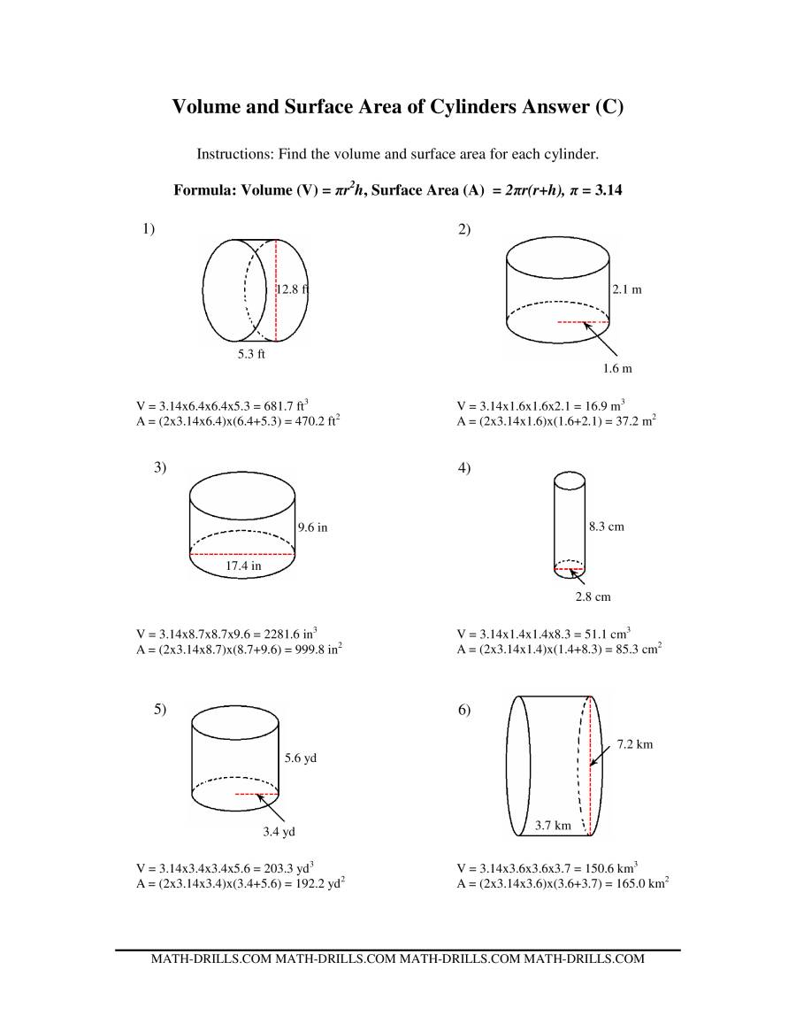 Volume And Surface Area Of Cylinders C