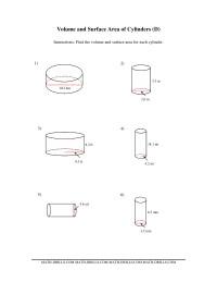 volume and surface area of cylinders dd measurement worksheet. Black Bedroom Furniture Sets. Home Design Ideas