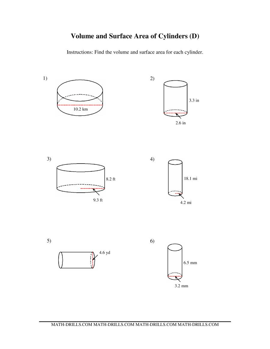 The Volume and Surface Area of Cylinders (D) Math Worksheet