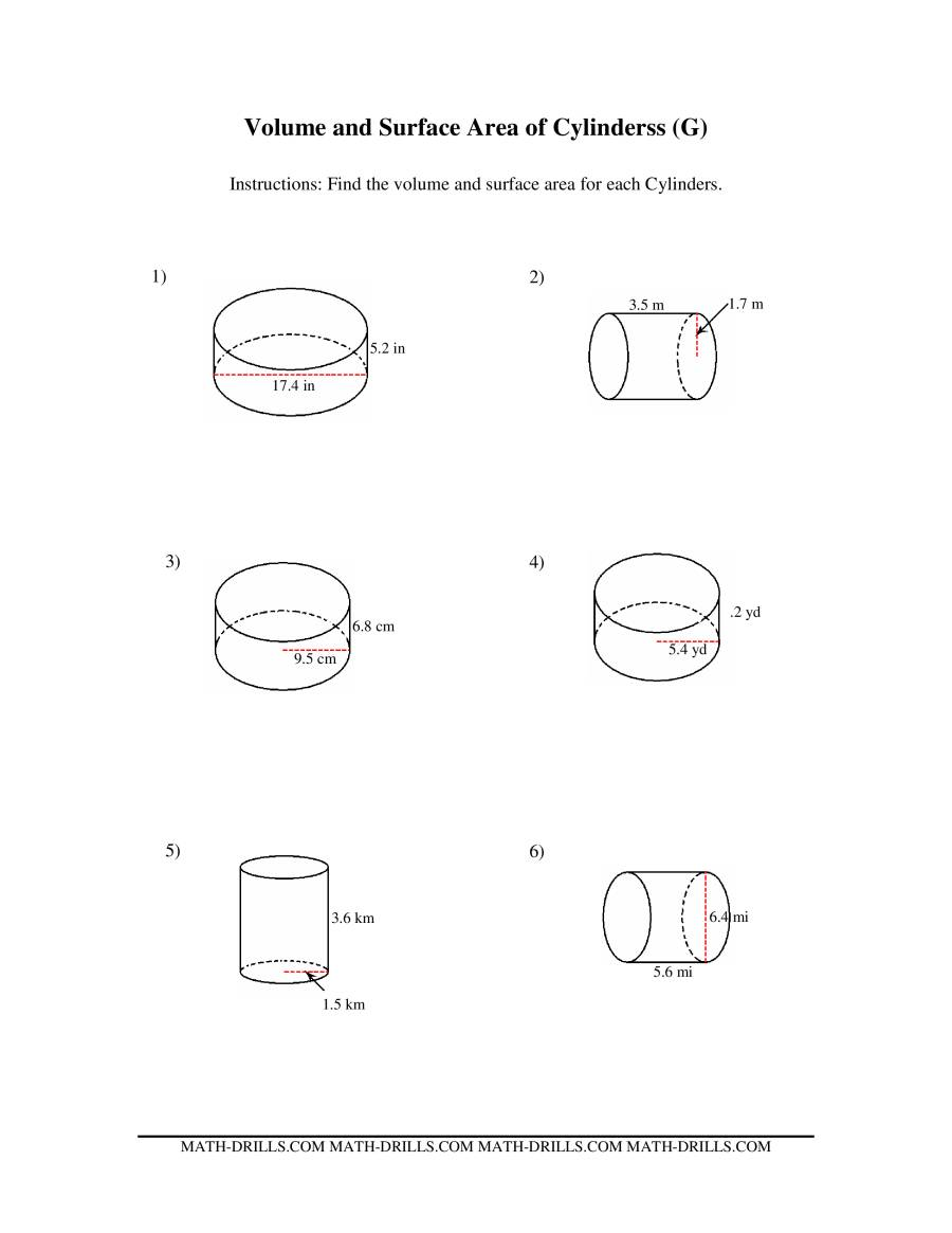 Volume and Surface Area of Cylinders (G)