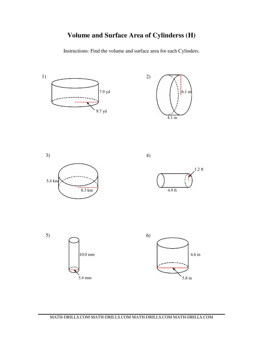 Worksheets Volume Of Cylinders Worksheet volume and surface area of a cylinder worksheet free worksheets prisms cylinders fbopen