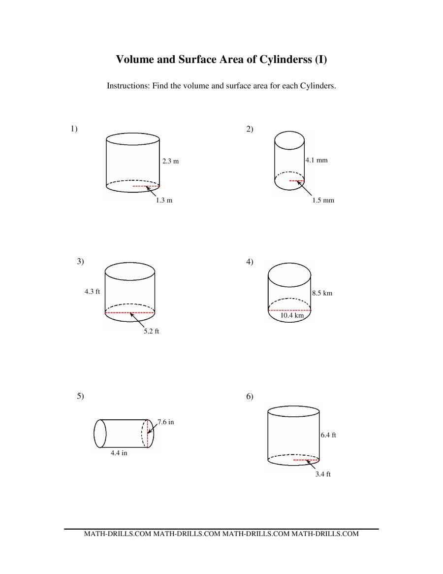 Worksheets Volume Of Cylinders Worksheet surface area of cylinders worksheet free worksheets library geometry area