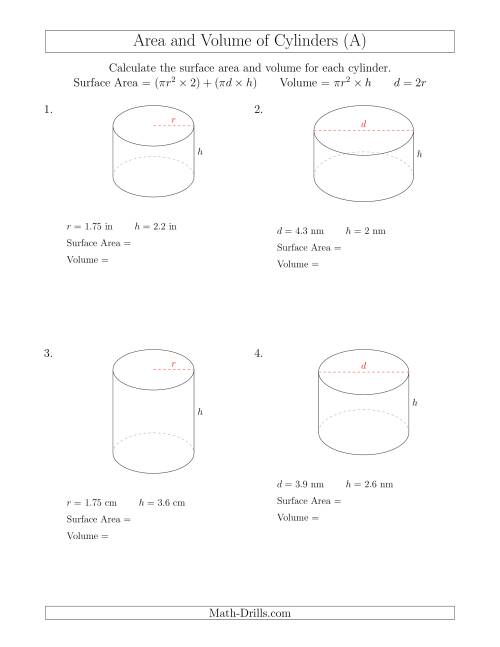 The Calculating Surface Area and Volume of Cylinders with Small Numbers (A) Math Worksheet