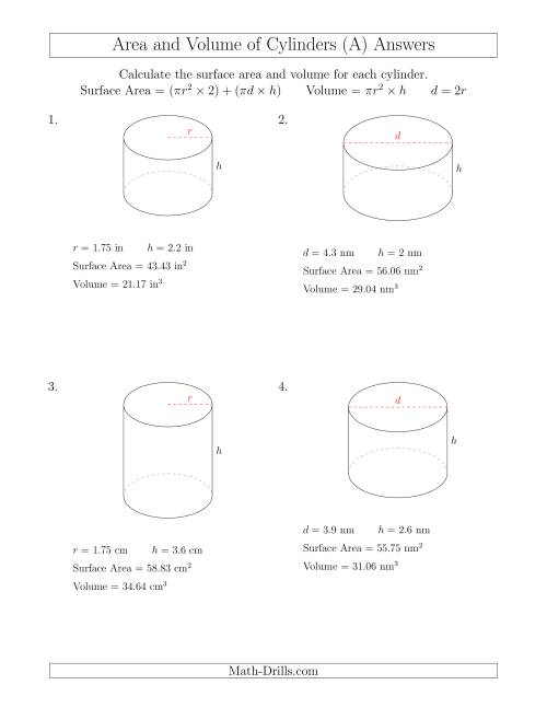 The Calculating Surface Area and Volume of Cylinders with Small Numbers (A) Math Worksheet Page 2