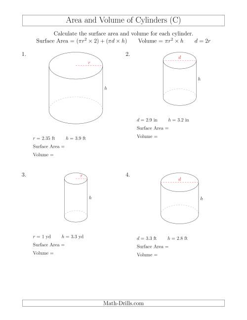 Calculating Surface Area and Volume of Cylinders with ...