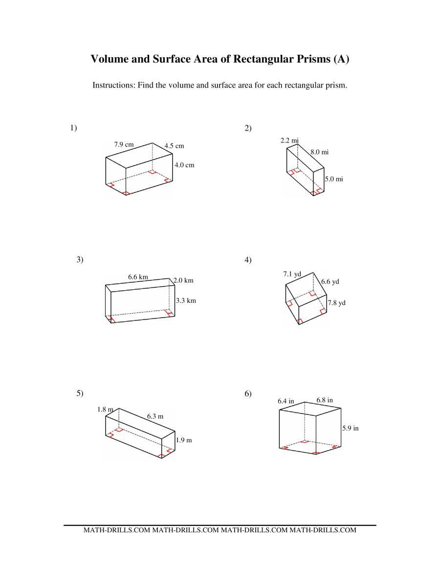 Volume and Surface Area of Rectangular Prisms (A