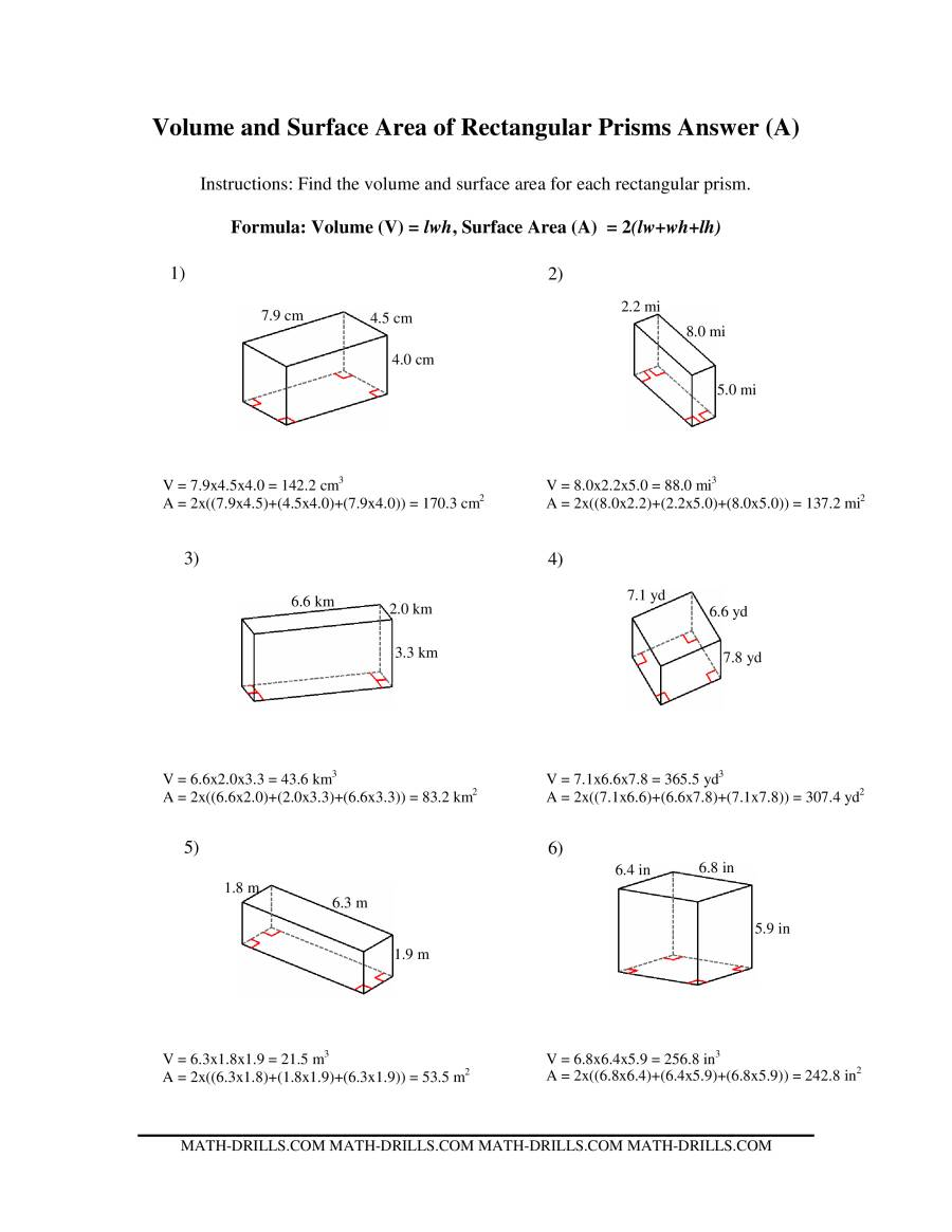 Volume And Surface Area Of A Rectangular Prism Worksheet Answers ...