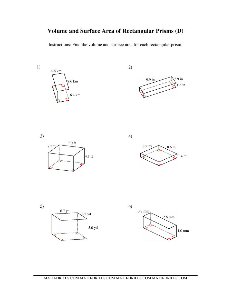 Volume and Surface Area of Rectangular Prisms (D)