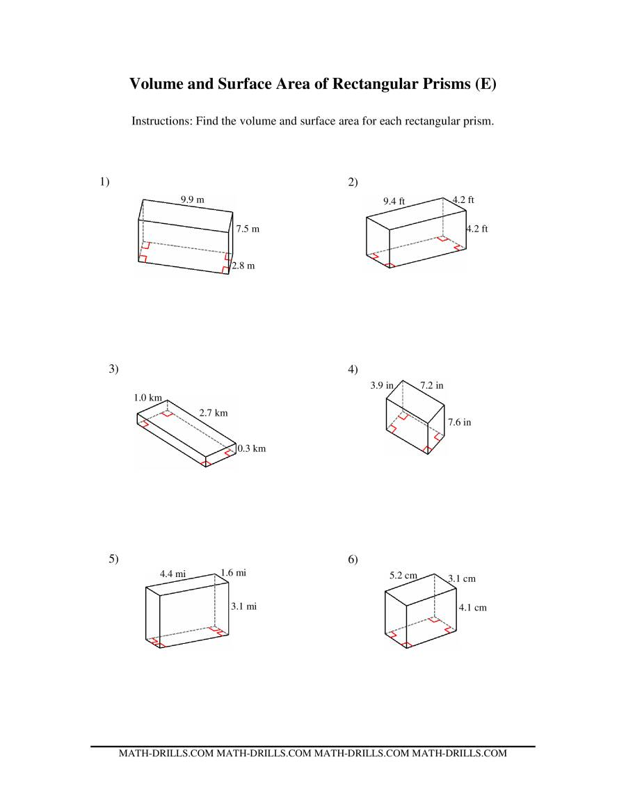 Volume And Surface Area Of Rectangular Prisms E