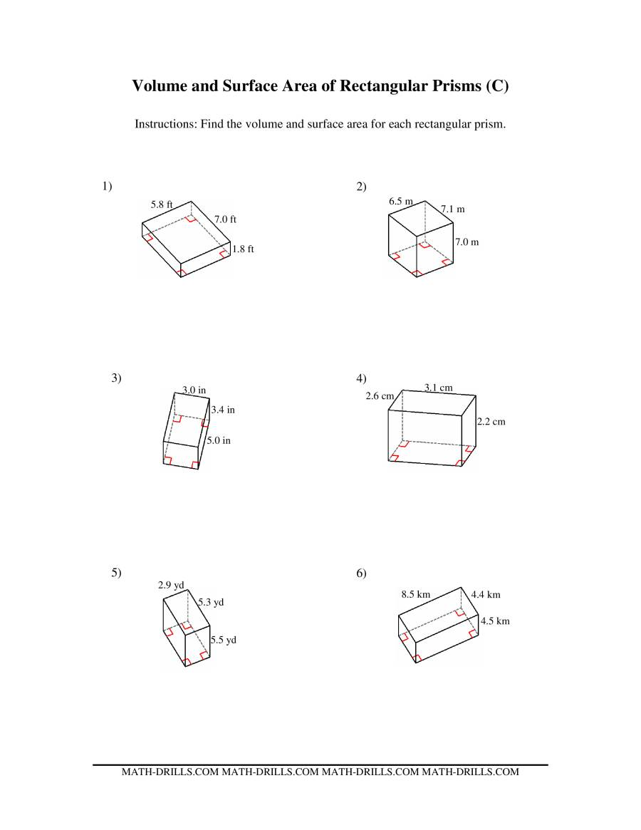 Math Worksheets Volume And Area Volume Surface Area 7G 6 Mrs – Rectangular Prism Surface Area Worksheet