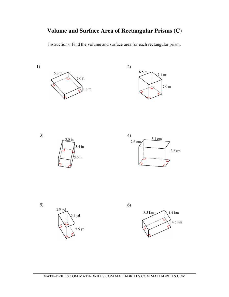 Volume of prisms worksheet pdf kuta
