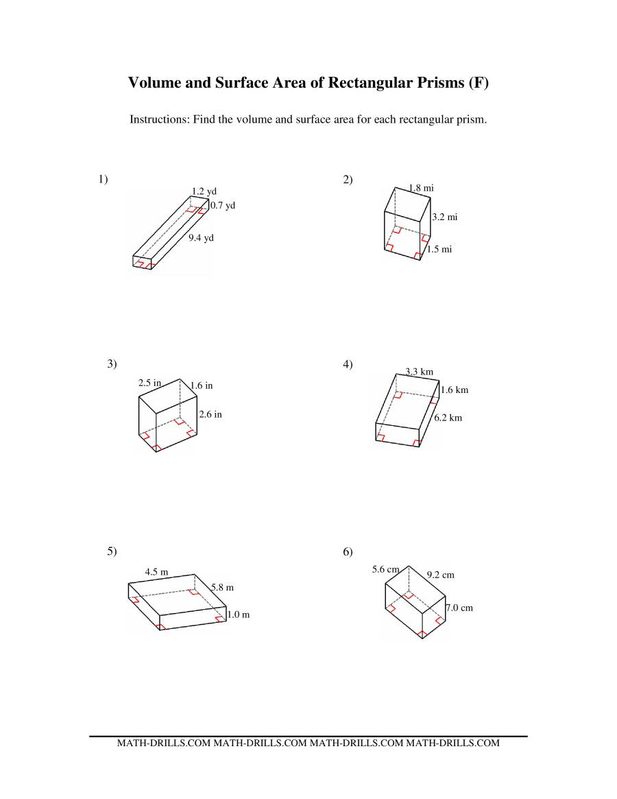 Volume and Surface Area of Rectangular Prisms FF Measurement – Surface Area of Rectangular Prism Worksheet