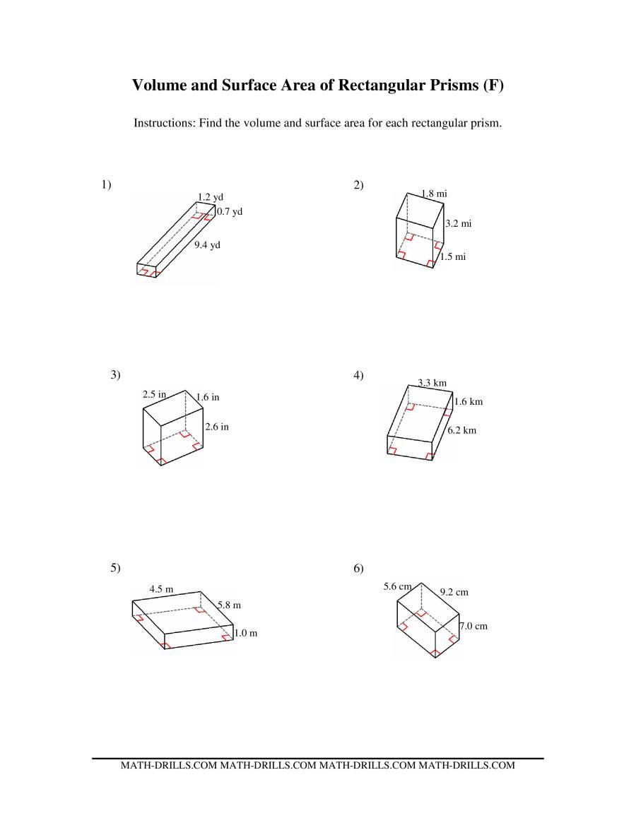 volume and surface area of rectangular prisms ff measurement worksheet. Black Bedroom Furniture Sets. Home Design Ideas