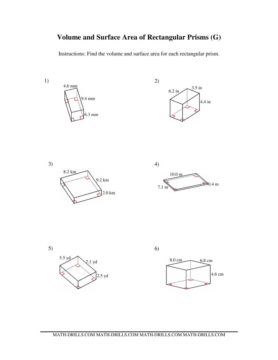 Volume and Surface Area of Rectangular Prisms GG Measurement – Surface Area of Rectangular Prism Worksheet