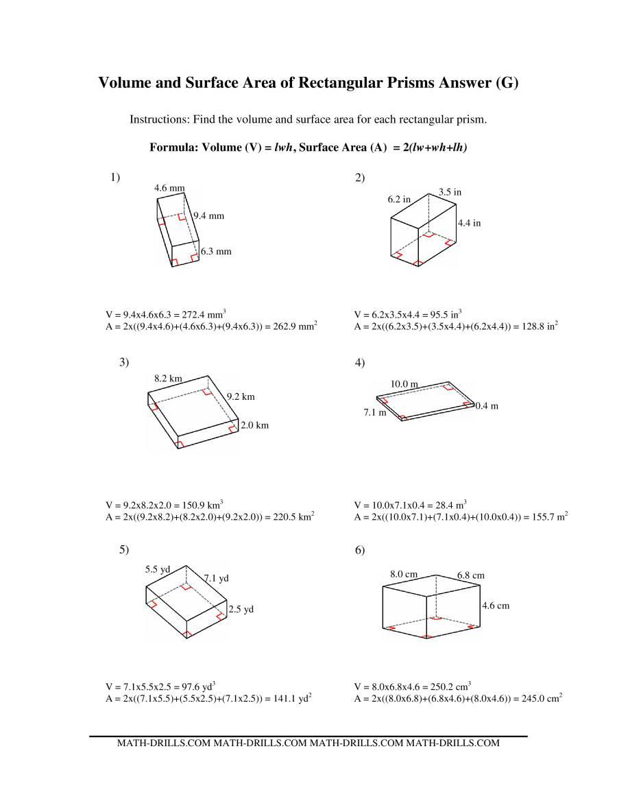 volume and surface area of rectangular prism worksheet pdf