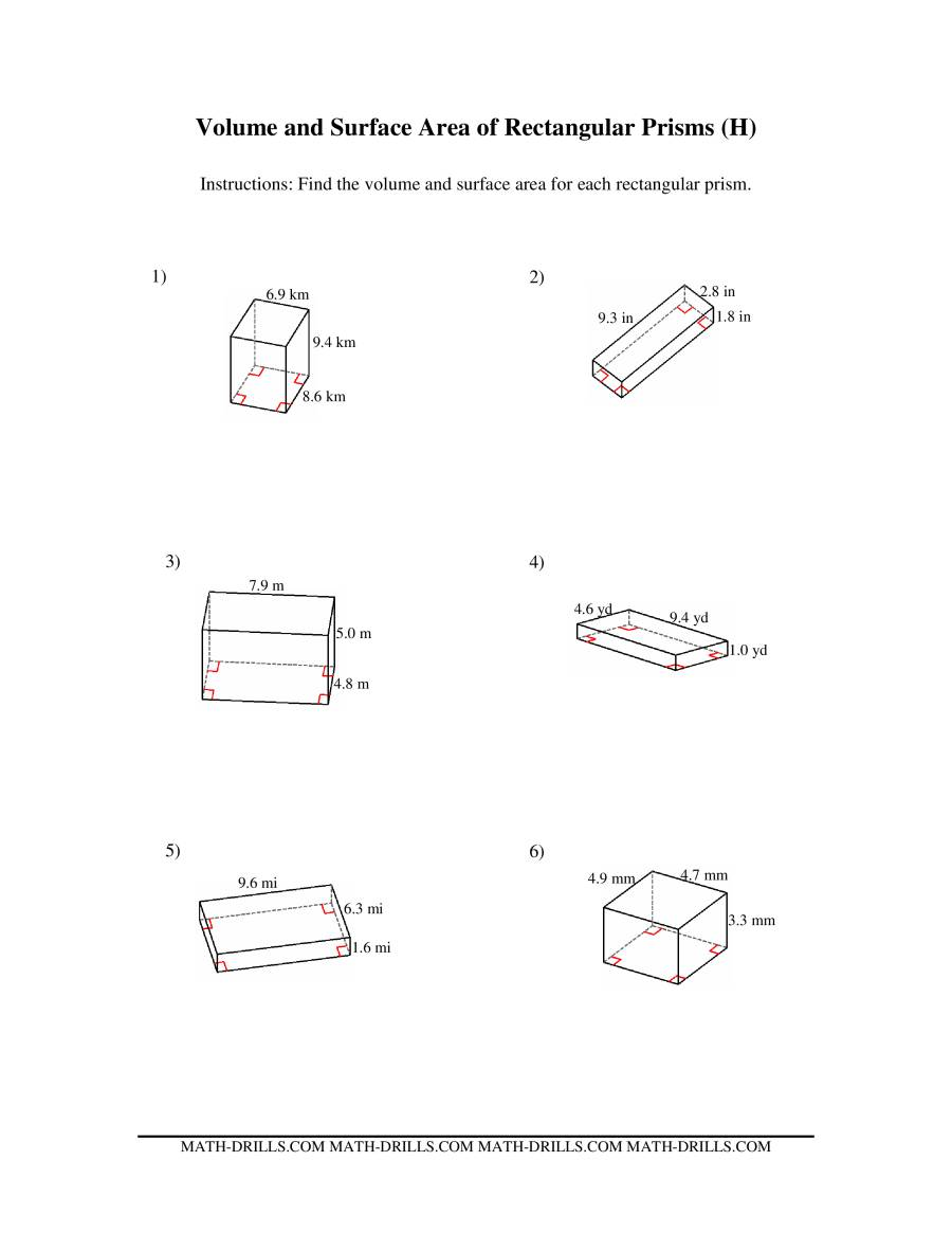 Volume and Surface Area of Rectangular Prisms HH Measurement – Surface Area of Rectangular Prism Worksheet