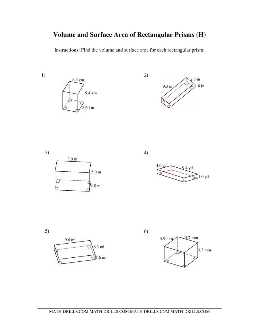 volume and surface area of rectangular prisms h. Black Bedroom Furniture Sets. Home Design Ideas