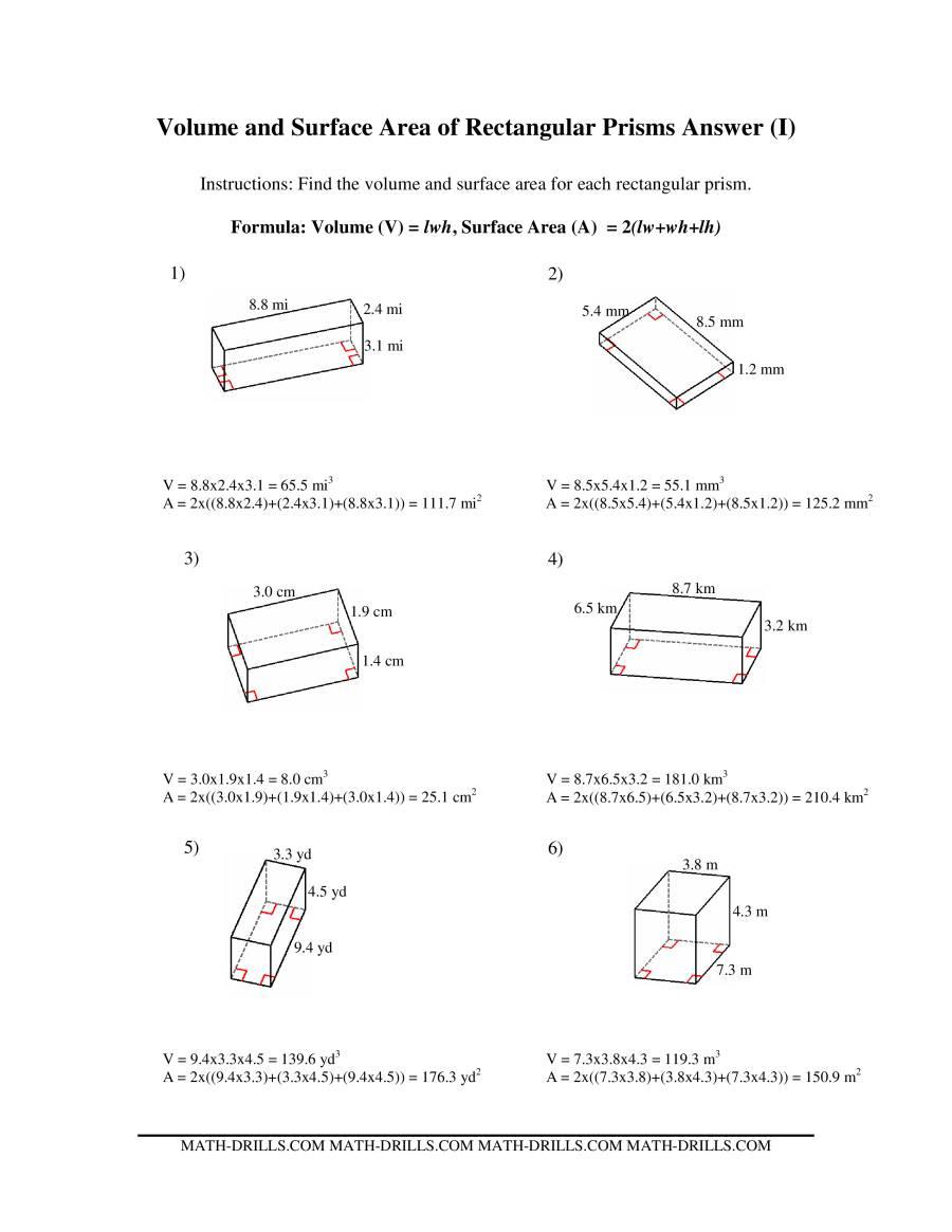 volume and surface area of rectangular prisms i. Black Bedroom Furniture Sets. Home Design Ideas