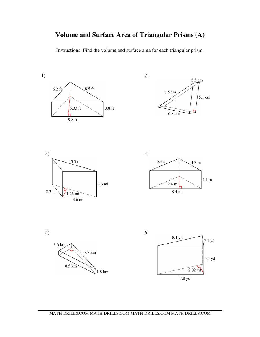 Volume and Surface Area of Triangular Prisms A – Surface Area Worksheet