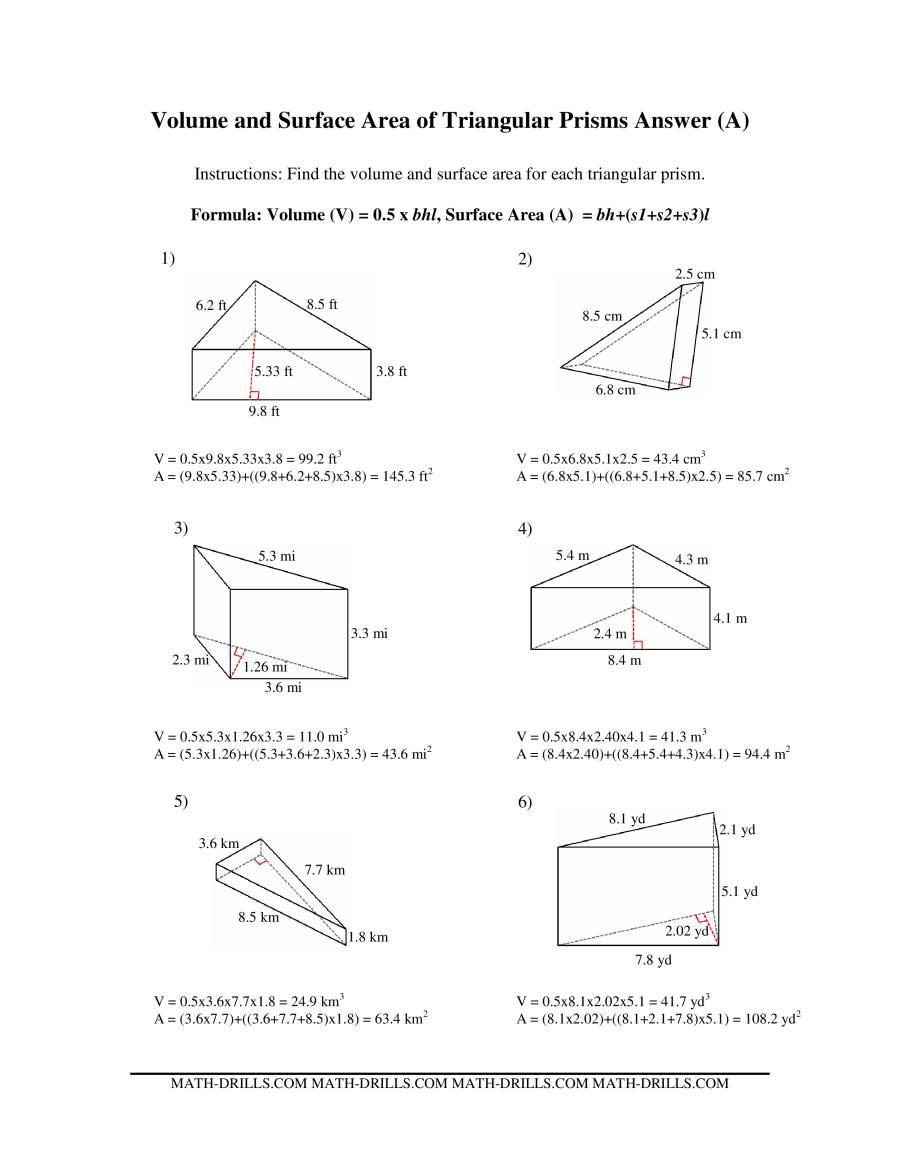 Volume Of Triangular Prism Worksheet Worksheets for all | Download ...