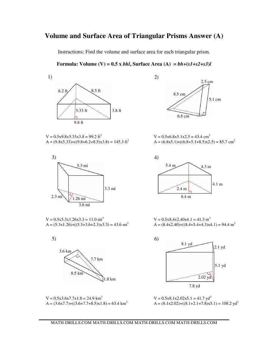 worksheet Volume Of Triangular Prism Worksheet Pdf volume and surface area of triangular prisms a the math worksheet page 2