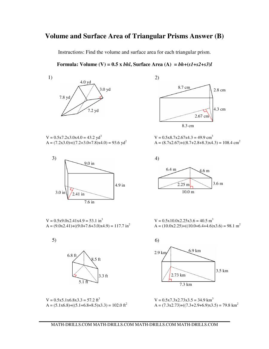 The Volume and Surface Area of Triangular Prisms (B) Math Worksheet Page 2